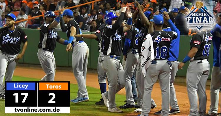 Video: Licey masacra a los Toros 17-2 en inicio Serie Final